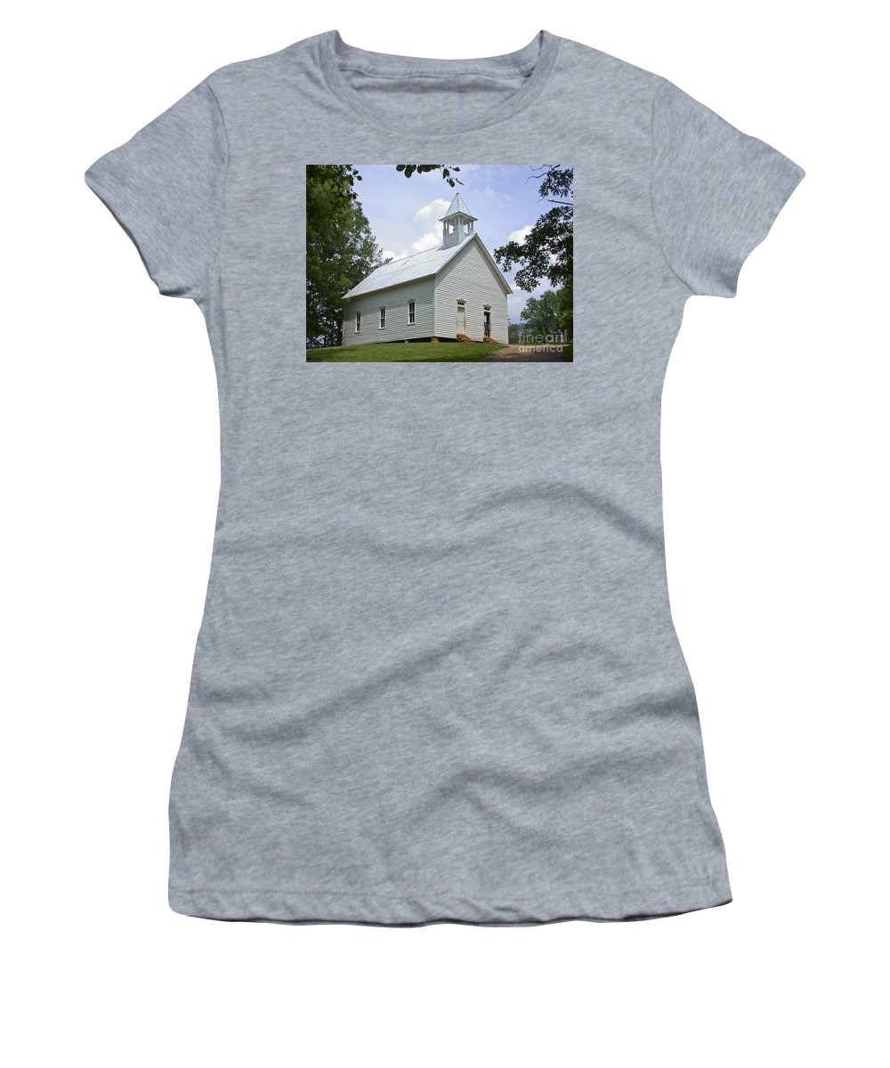 Cades Cove Women's T-Shirt featuring the photograph Country Church by Tim Mulina