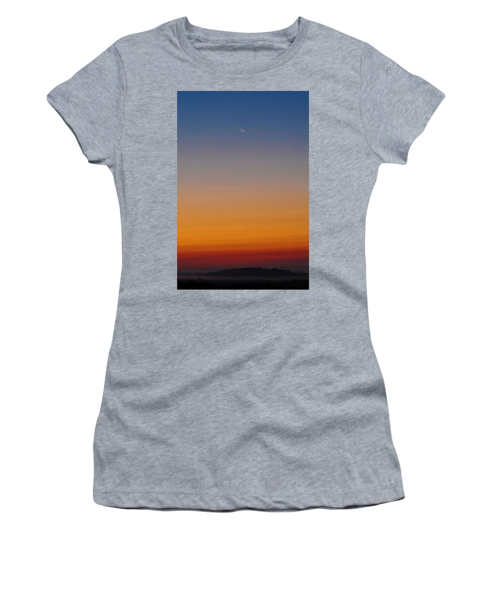 Crescent Moon Before Sunrise Women's T-Shirt (Athletic Fit) featuring the photograph Crescent Moon Before Sunrise by Bill Cannon