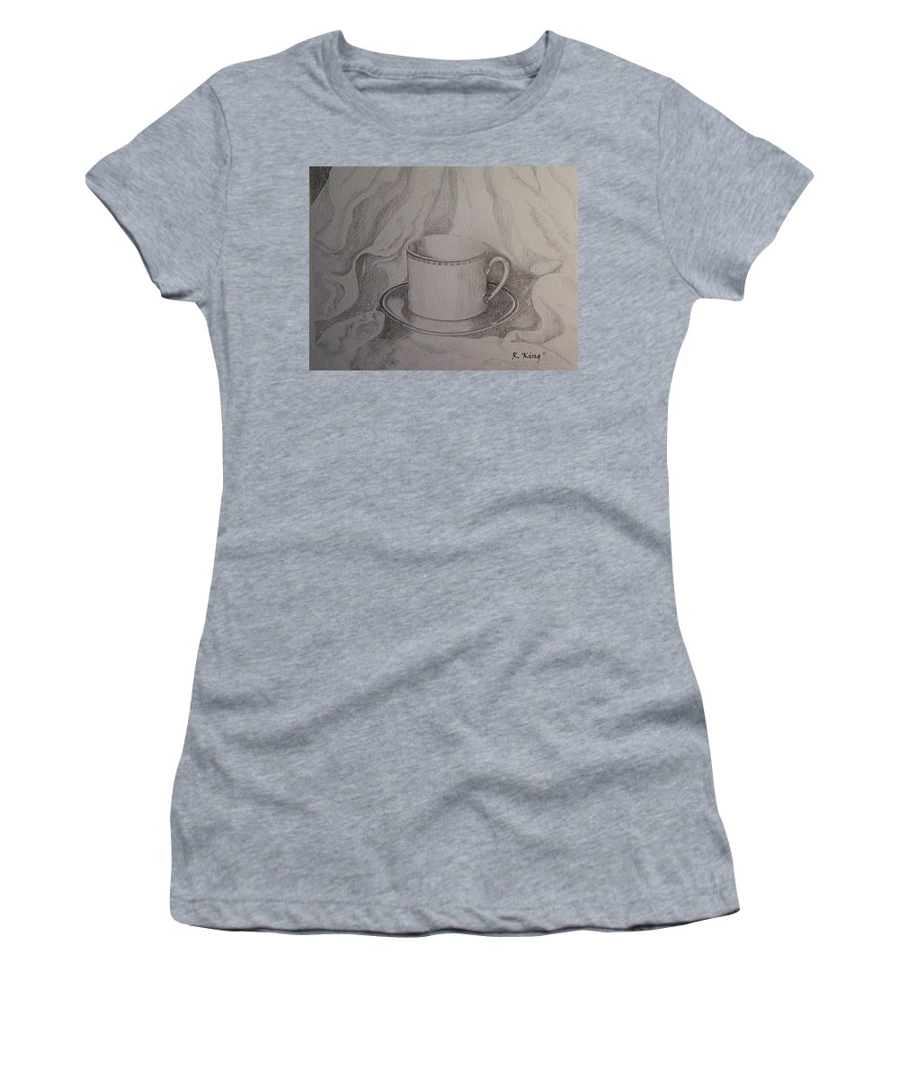 Roena King Women's T-Shirt (Athletic Fit) featuring the drawing Cup And Saucer On Material by Roena King