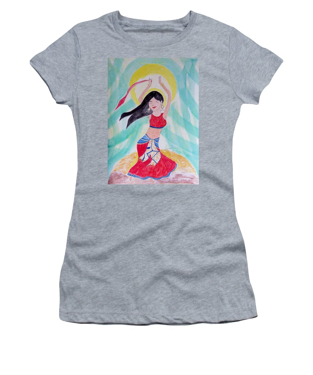 Dance Of The Near East Women's T-Shirt (Athletic Fit) featuring the painting Danse Du Ventre by Sonali Gangane