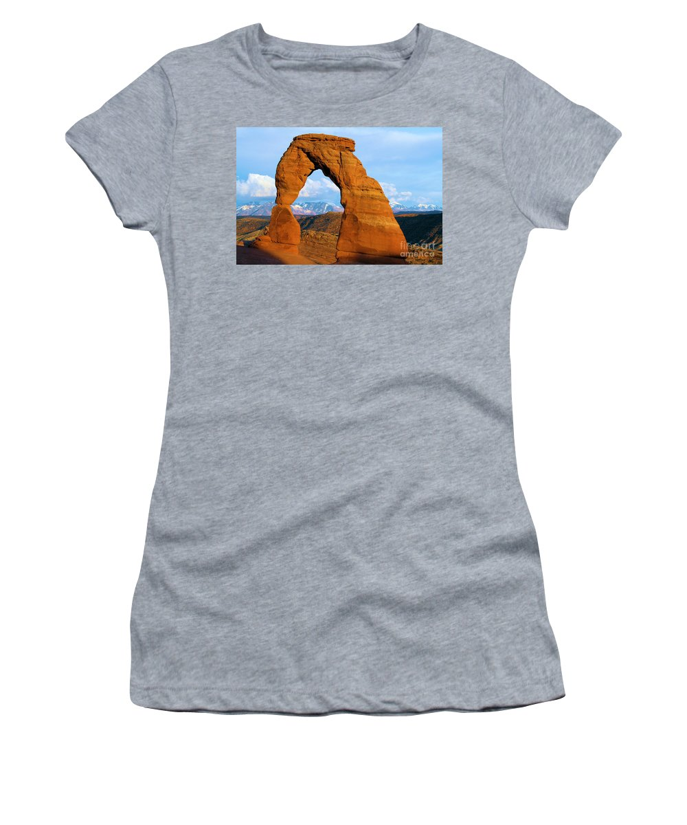 Delicate Arch Women's T-Shirt featuring the photograph Delicate Arch Closeup by Adam Jewell