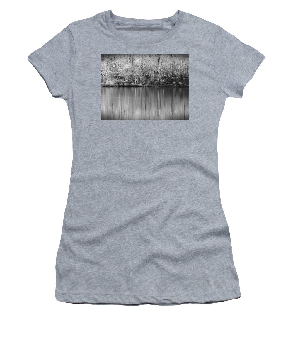Rickets Glen Women's T-Shirt featuring the photograph Desolate Splendor Bw by David Dehner