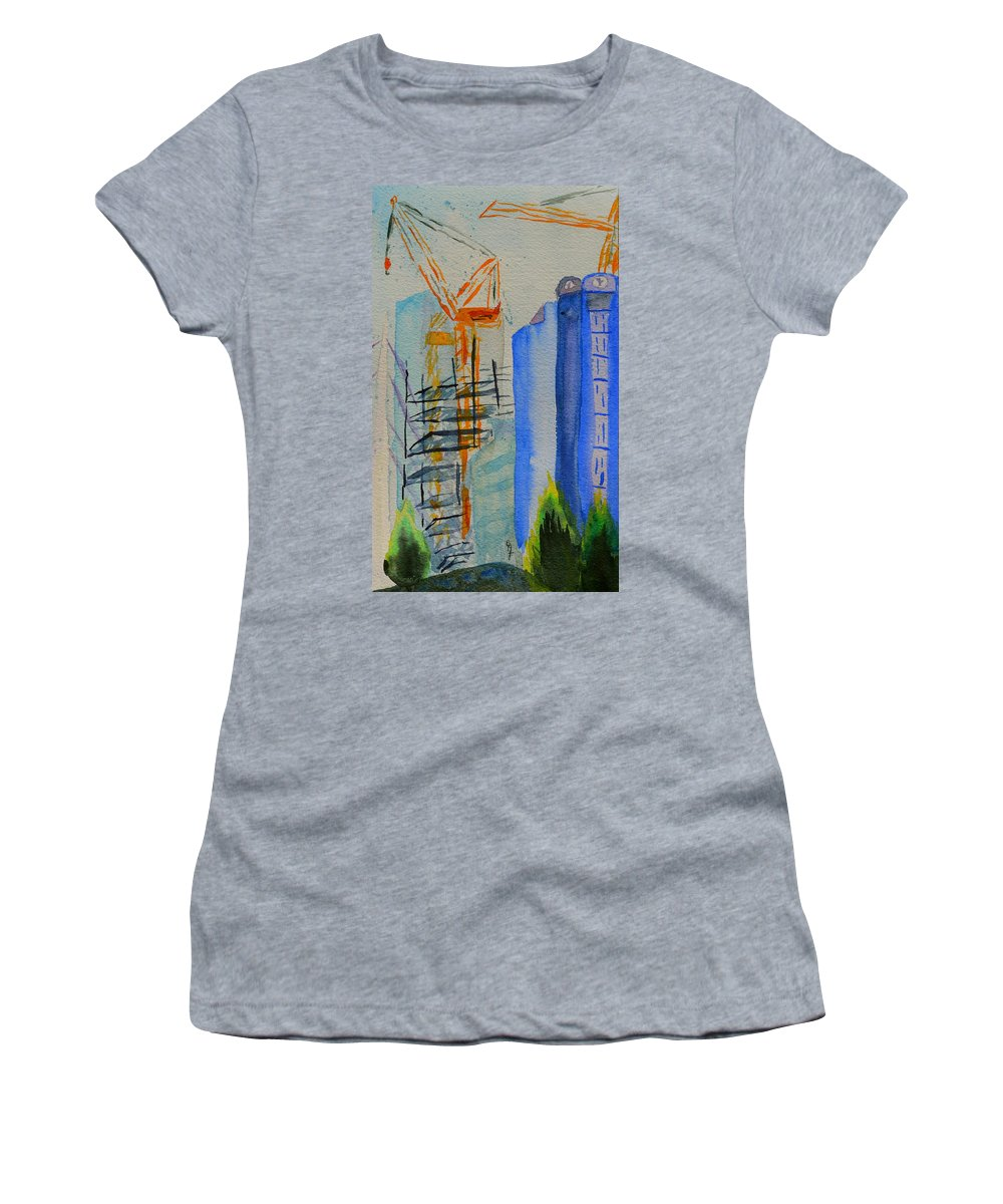 Cranes Women's T-Shirt featuring the painting Development by Beverley Harper Tinsley