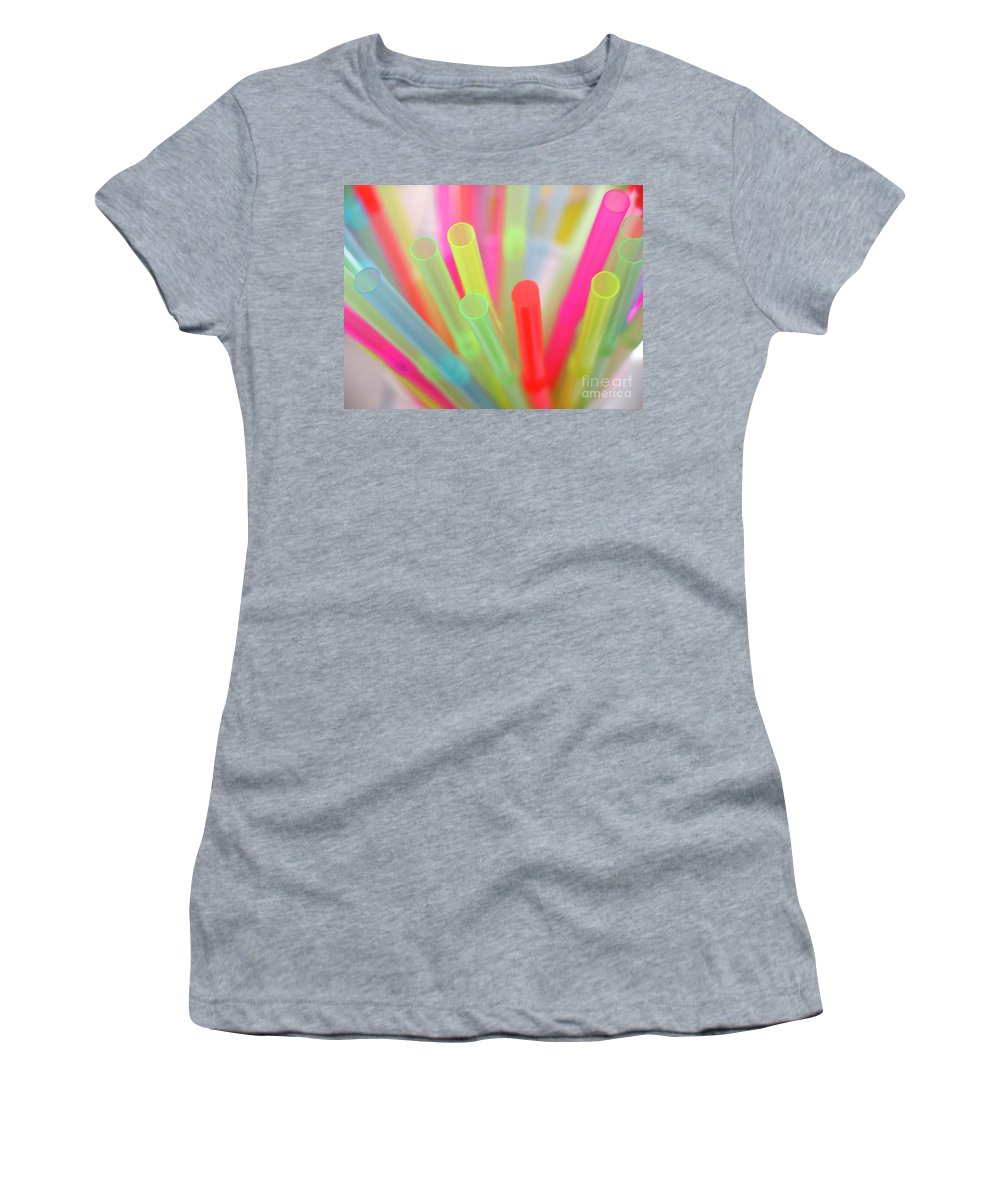 Abstract Women's T-Shirt (Athletic Fit) featuring the photograph Drinking Straws by Carlos Caetano