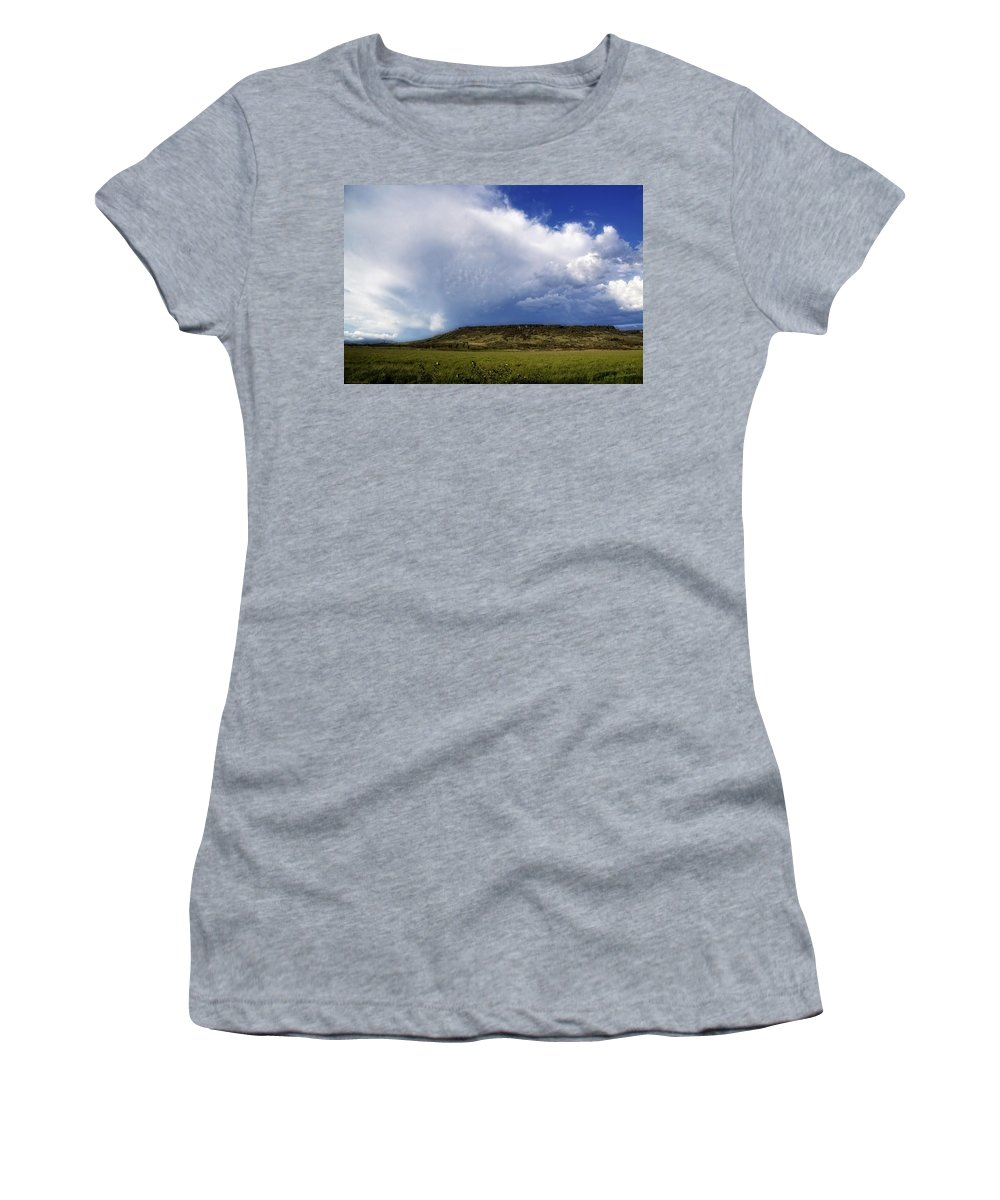 Table Rock Women's T-Shirt (Athletic Fit) featuring the photograph Dramatic Storm Over Table Rock by Mick Anderson