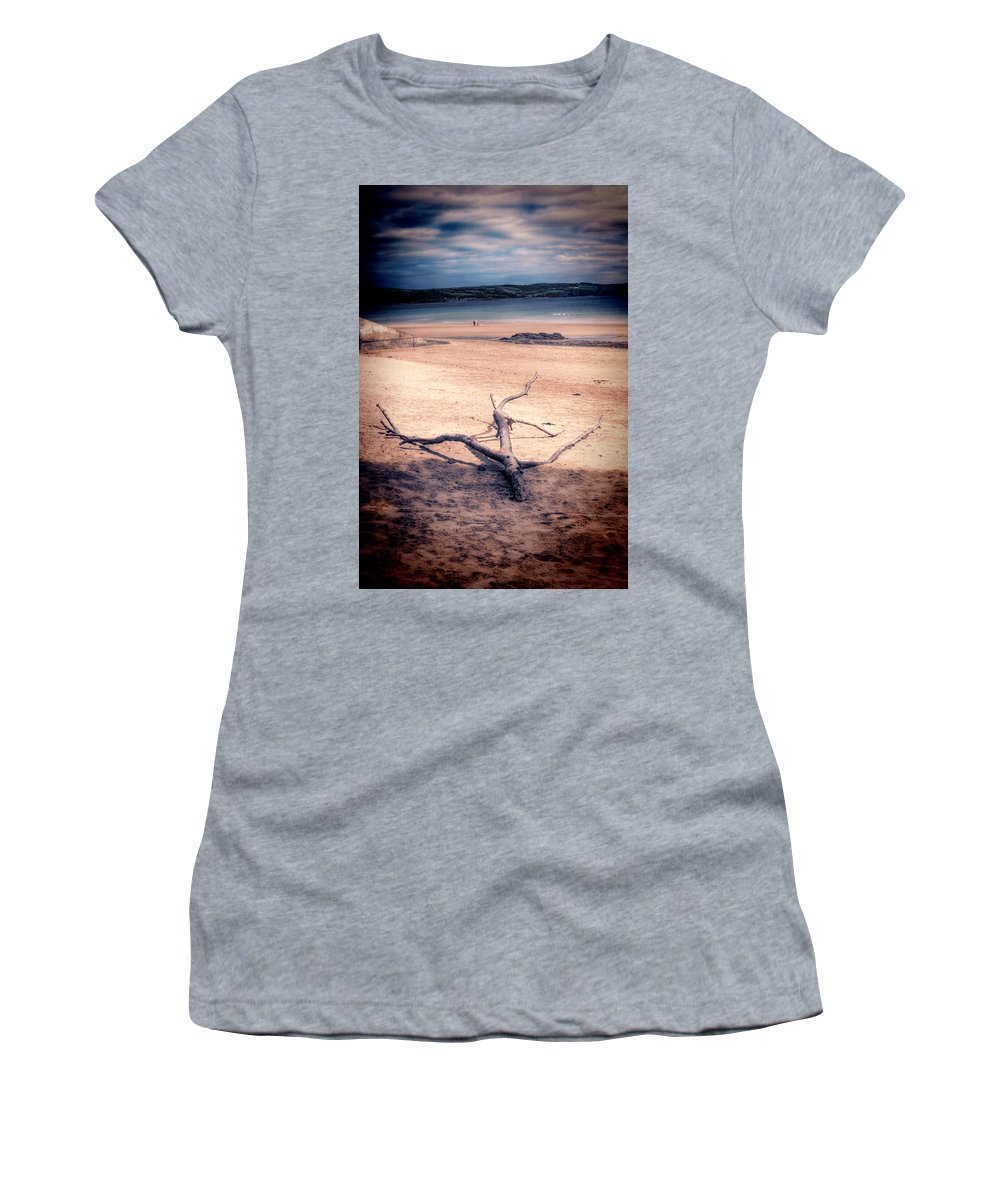 Driftwood Women's T-Shirt (Athletic Fit) featuring the photograph Driftwood 2 Lomo by Steve Purnell