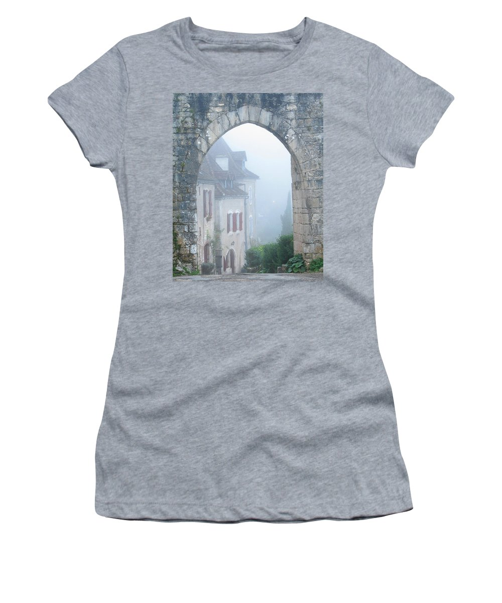 Arch Women's T-Shirt (Athletic Fit) featuring the photograph Entryway To St Cirq In The Fog by Greg Matchick