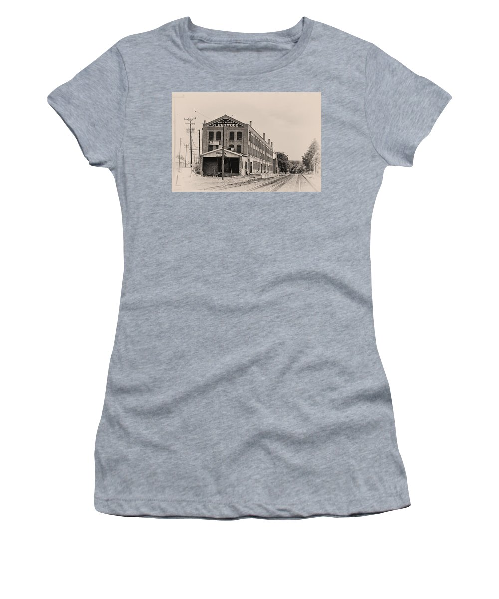 Packard Women's T-Shirt (Athletic Fit) featuring the photograph Fleetwood Autobody Factory by Bill Cannon