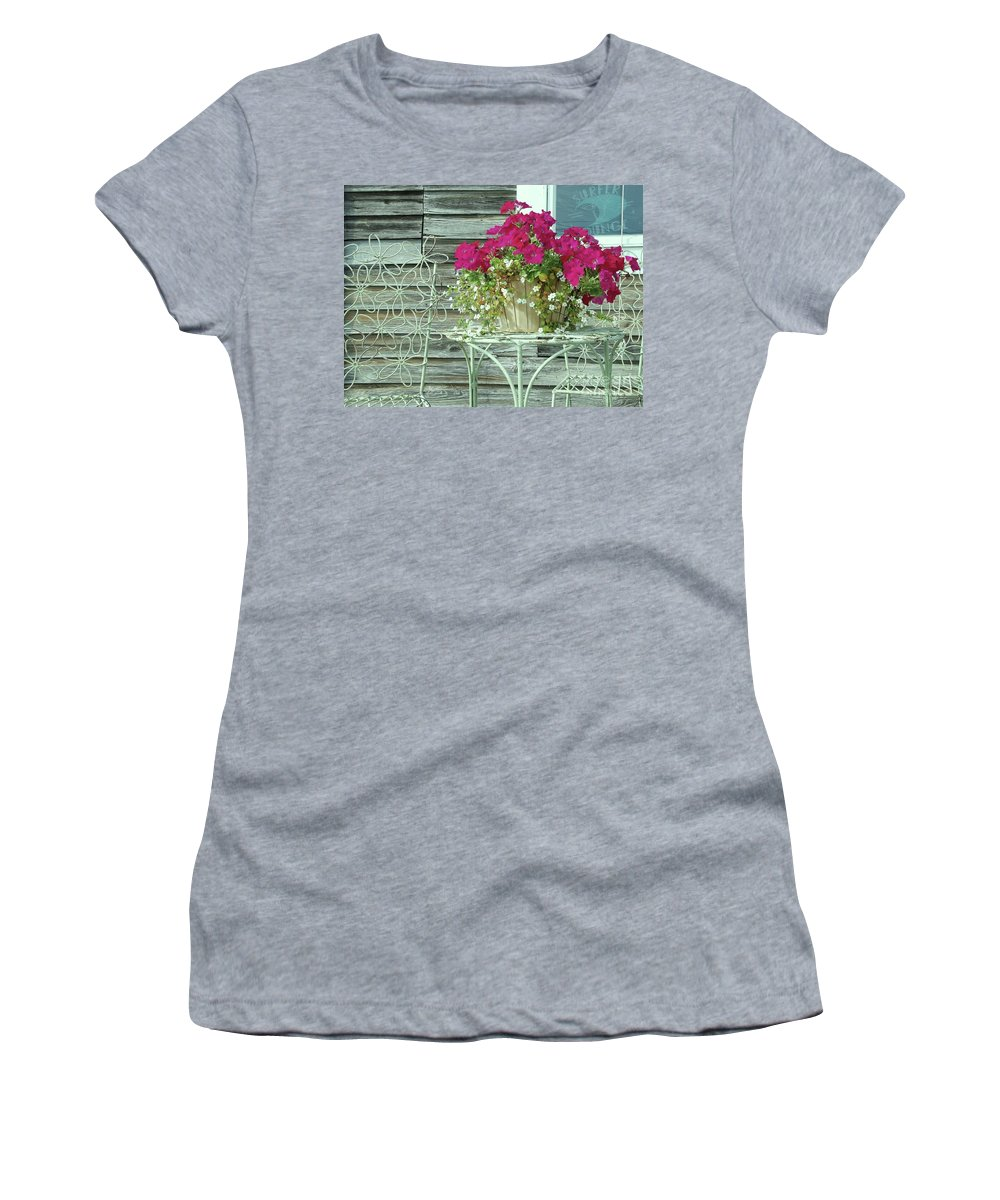 Flower Pots Women's T-Shirt (Athletic Fit) featuring the photograph Flower Pots ...... 4 by Allen Beatty
