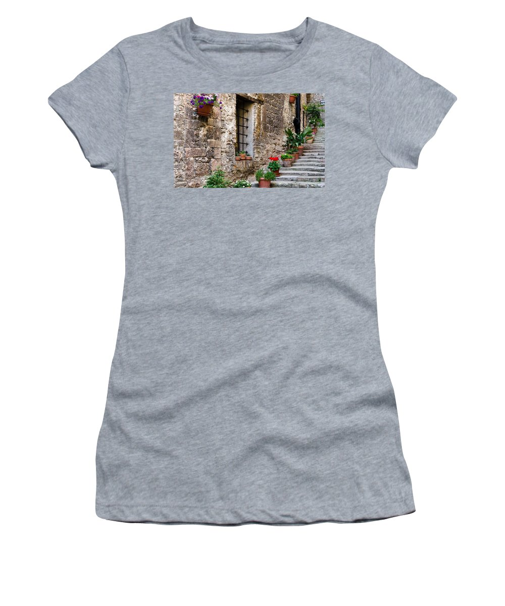 Stairway Women's T-Shirt featuring the photograph Flowered Stairway by Jon Berghoff