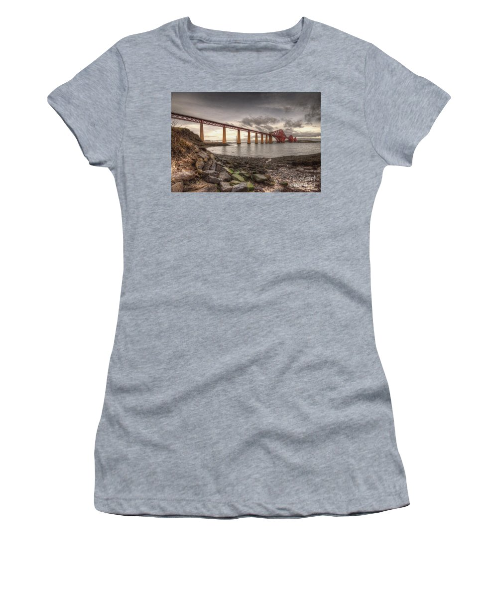 Forth Women's T-Shirt (Athletic Fit) featuring the photograph Forth Rail Bridge At Dawn by Rob Hawkins