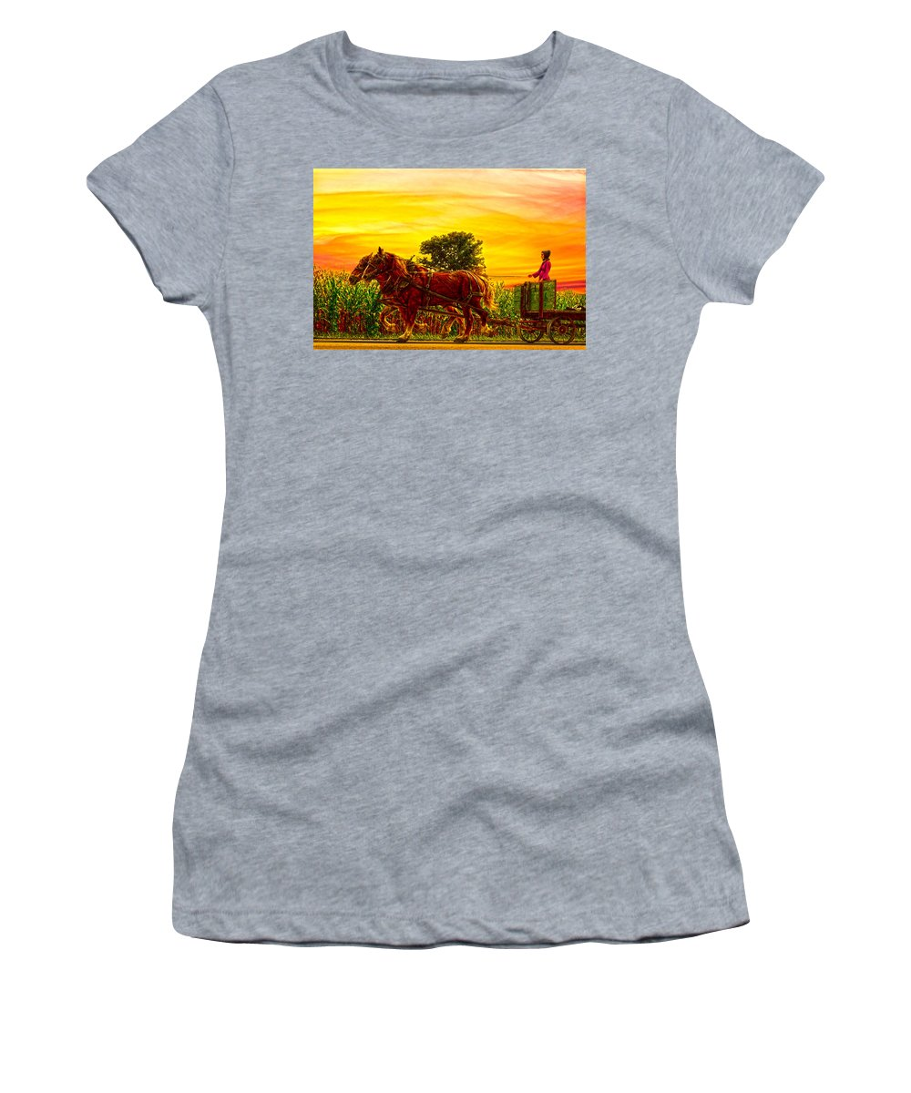 Amish Girl Women's T-Shirt featuring the photograph Girls Make Good Teamsters by Randall Branham