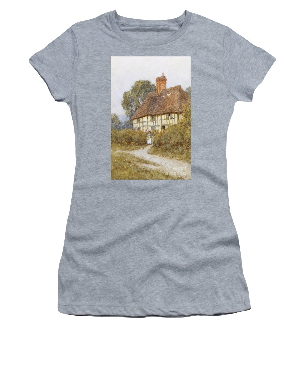 Cottage; Rural; Half-timbered; Country; Lane; Path; Female; Errand; C19th; C20th; Victorian Women's T-Shirt (Athletic Fit) featuring the painting Going Shopping by Helen Allingham