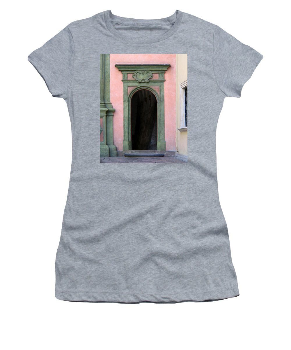 Green Women's T-Shirt featuring the photograph Green And Pink Doorway In Krakow Poland by Greg Matchick
