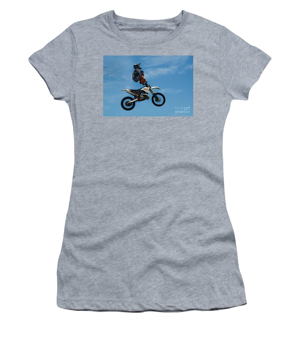 Motorcycle Women's T-Shirt (Athletic Fit) featuring the photograph Hanging On Motorcycle Tricks by Andrea Kollo