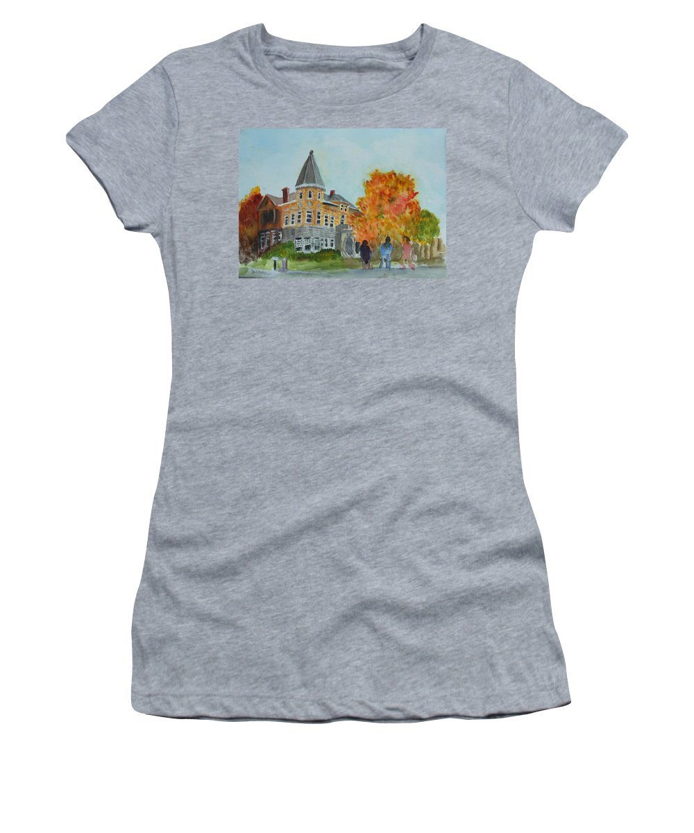 Haskell Free Library Women's T-Shirt featuring the painting Haskell Free Library In Autumn by Donna Walsh