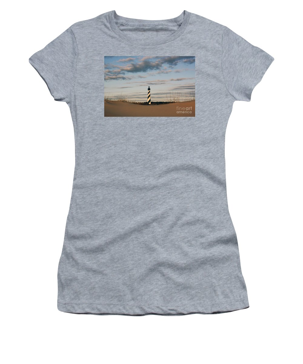 Cape Hatteras Women's T-Shirt featuring the photograph Hatteras Lighthouse And The Smiling Dune by Tony Cooper