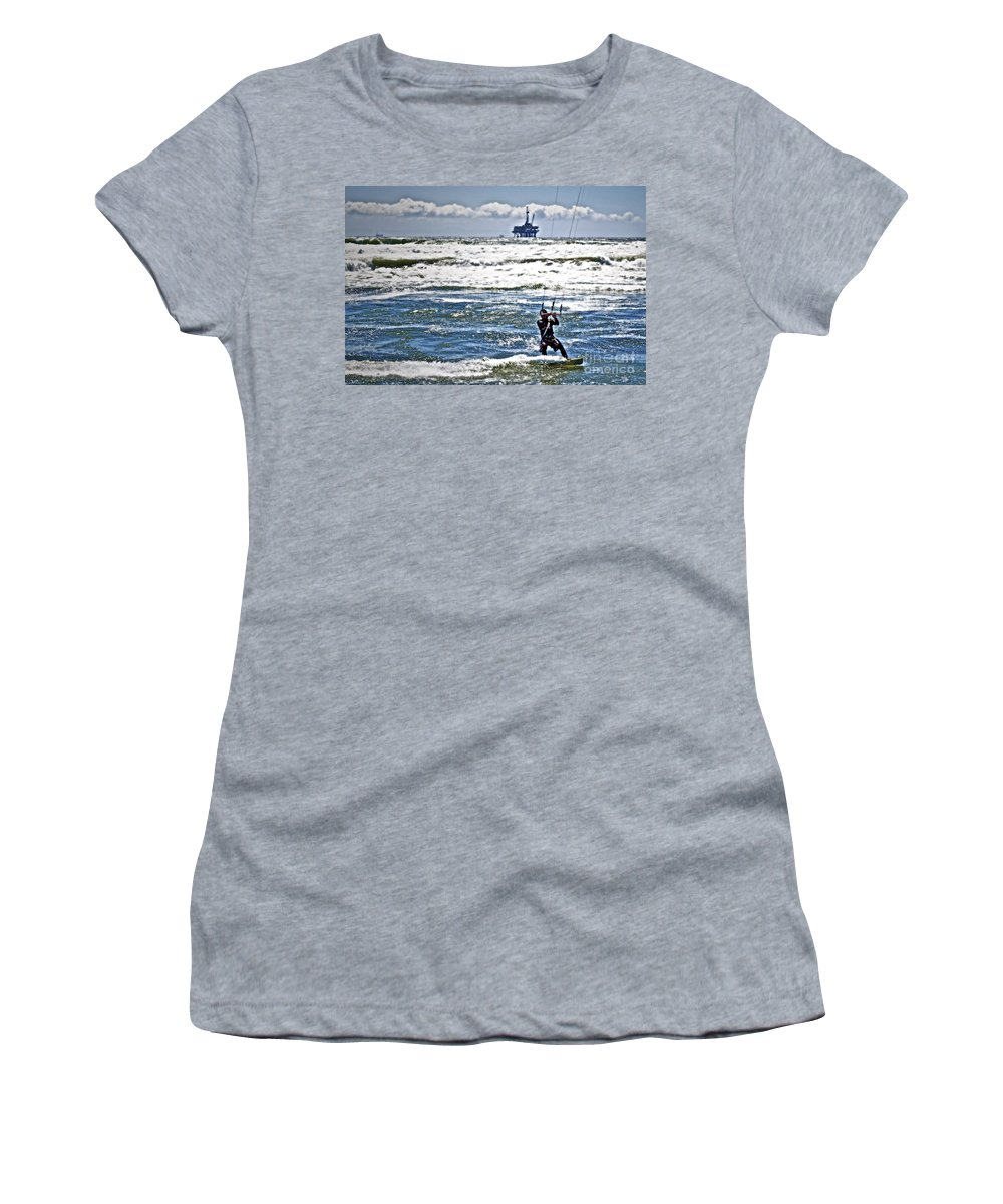 Ocean Women's T-Shirt (Athletic Fit) featuring the photograph Heading Back Out by Gwyn Newcombe