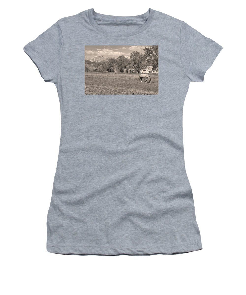 Sepia Women's T-Shirt (Athletic Fit) featuring the photograph Hygiene Colorado Boulder County Scenic View Sepia by James BO Insogna