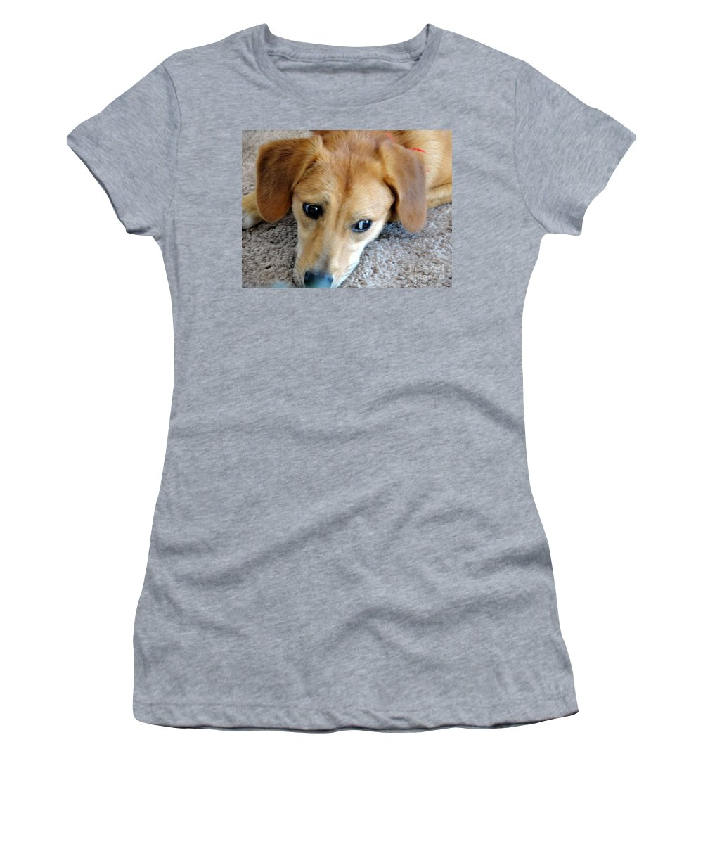 Beagle Women's T-Shirt (Athletic Fit) featuring the photograph I Am So Bored by Shelley Jones