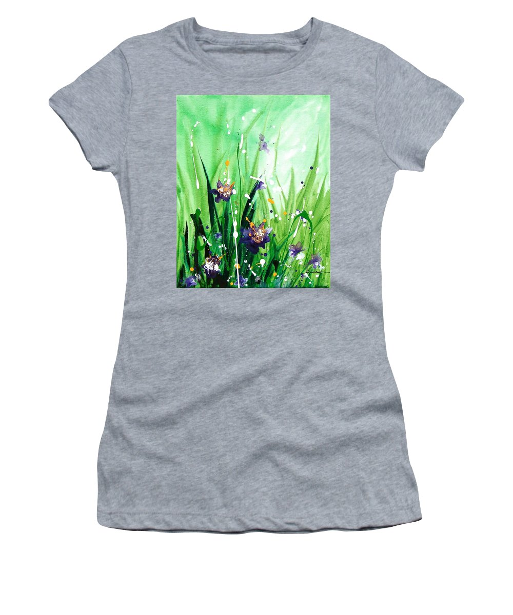 Floral Women's T-Shirt (Athletic Fit) featuring the painting In The Garden V by Kume Bryant
