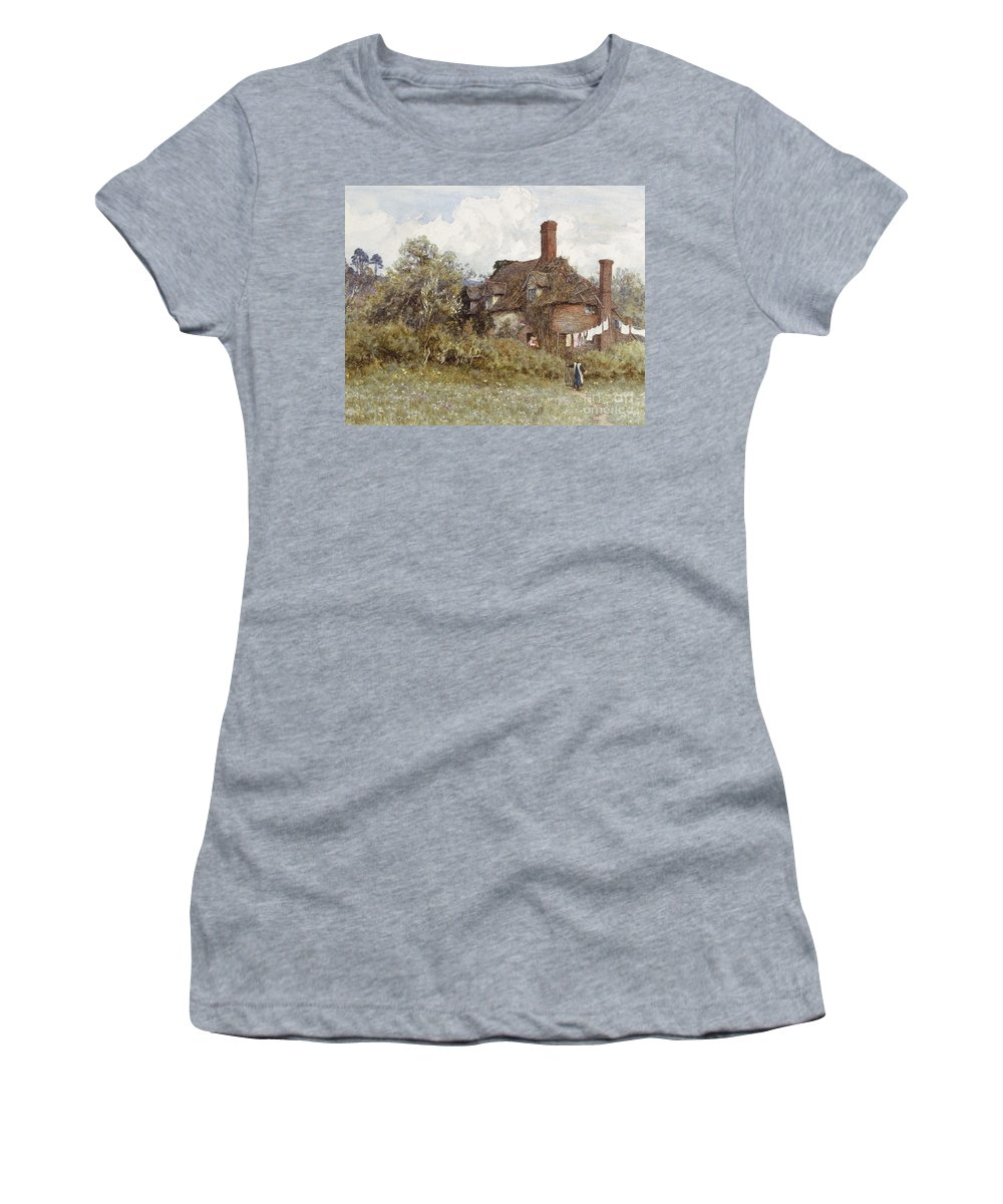 Cottage; Tumbledown; Disrepair; English; Landscape; C19th; C20th; Victorian; Washing; Line; Laundry; Airing Women's T-Shirt (Athletic Fit) featuring the painting In The Spring by Helen Allingham