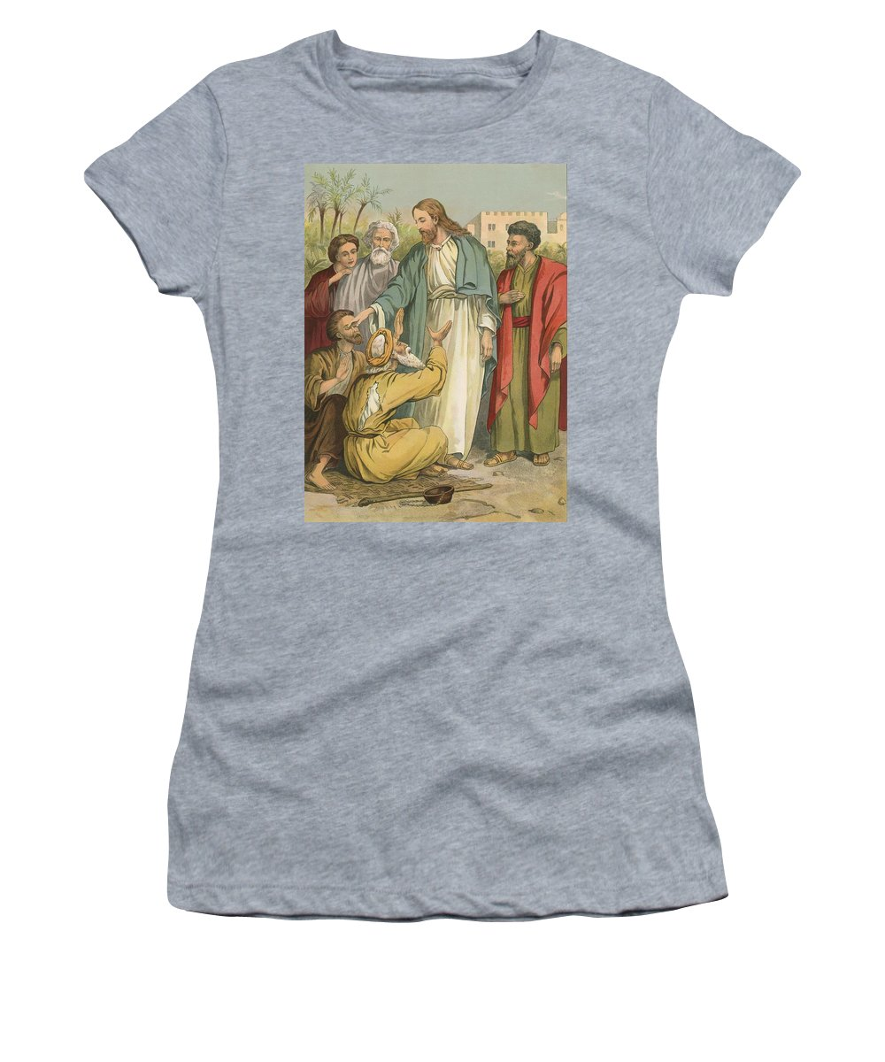 Bible; Children's; Jesus Christ; Blind Men Women's T-Shirt (Athletic Fit) featuring the painting Jesus And The Blind Men by English School