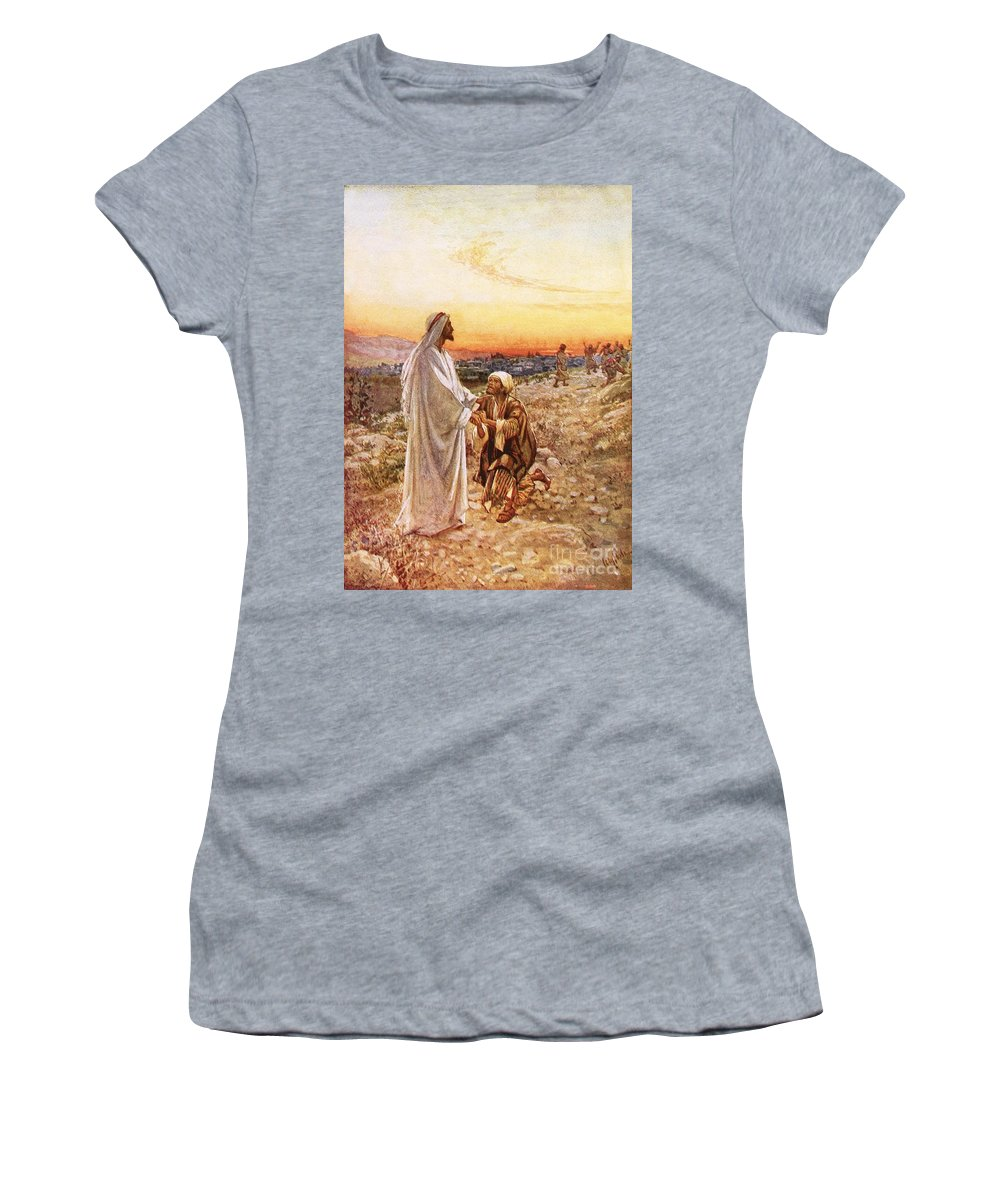 Bible; Jesus Christ; Leper; One Of Ten; Lepers; Thanks; Gratitude; Miracle Women's T-Shirt (Athletic Fit) featuring the painting Jesus Withe The One Leper Who Returned To Give Thanks by William Brassey Hole