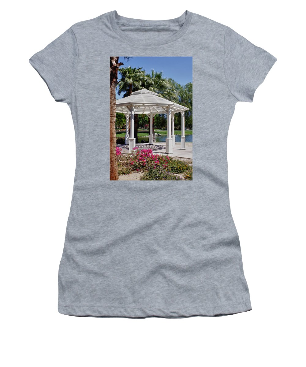 Flower Women's T-Shirt featuring the photograph La Quinta Park Gazebo by Linda Dunn