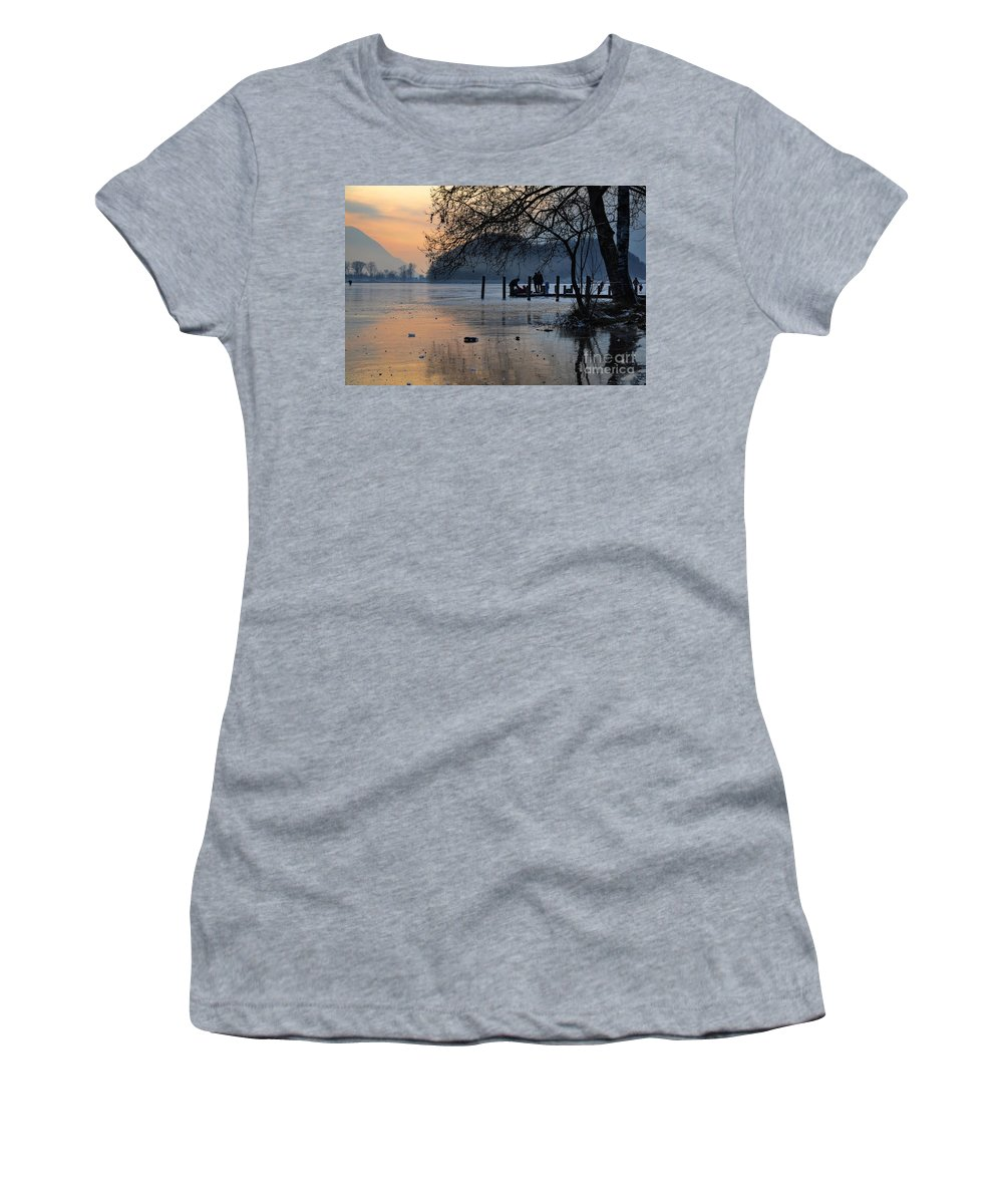 Frozen Women's T-Shirt (Athletic Fit) featuring the photograph Lake With Ice In Sunset by Mats Silvan
