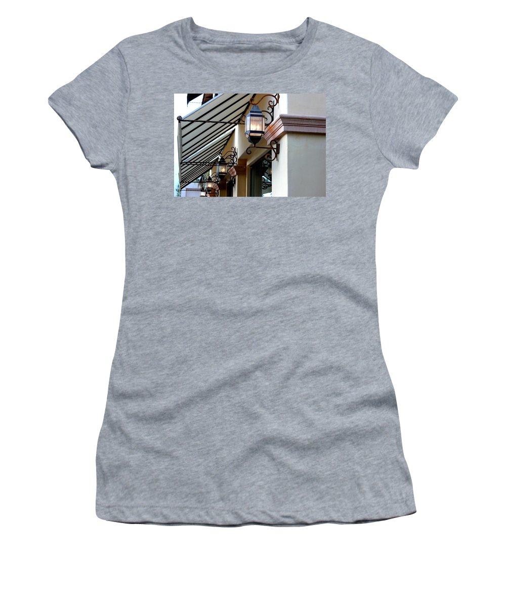 Lanterns Women's T-Shirt (Athletic Fit) featuring the photograph Lanterns And Lines by Leigh Meredith