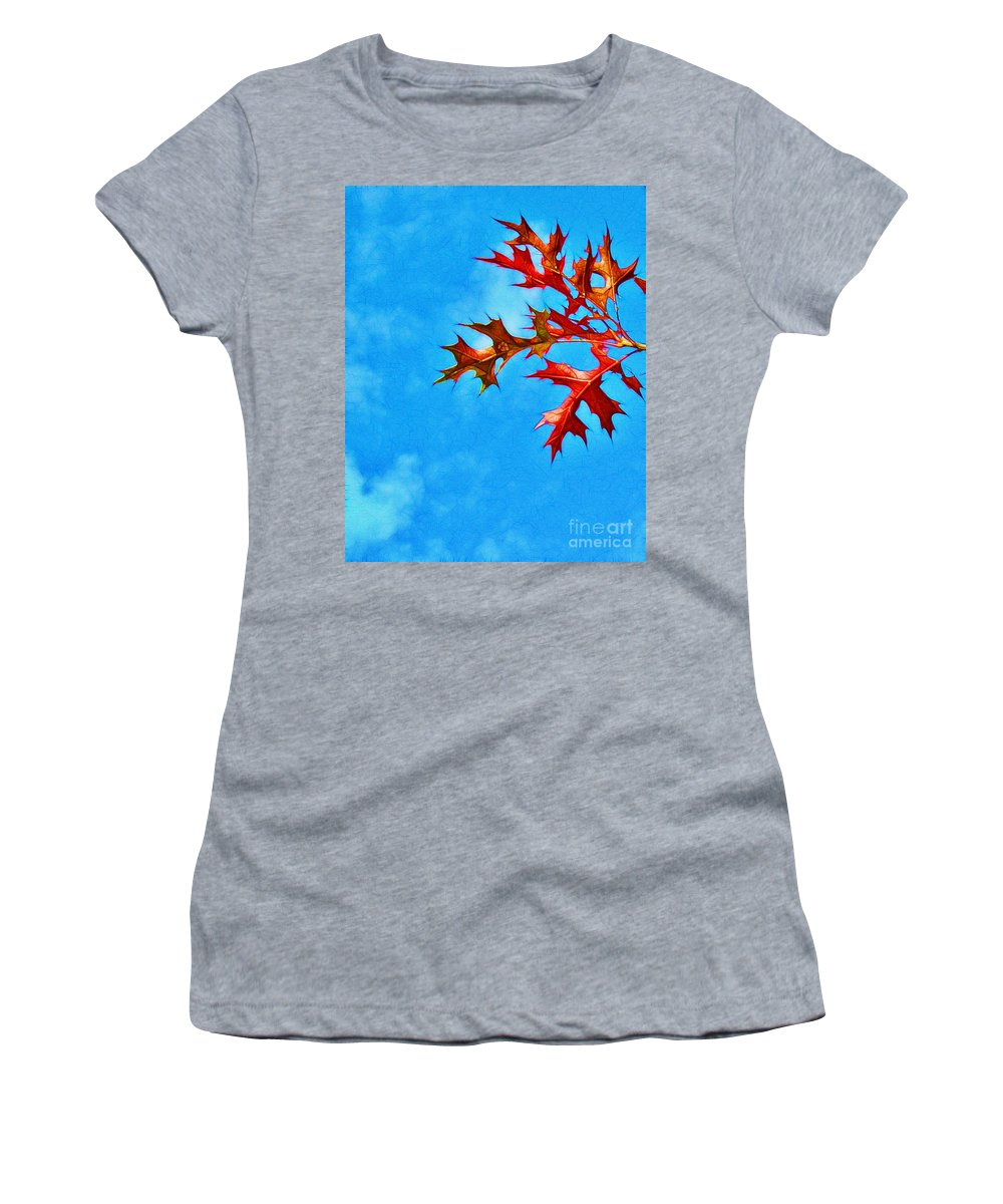 Autumn Women's T-Shirt (Athletic Fit) featuring the photograph Leaves Against The Sky by Judi Bagwell