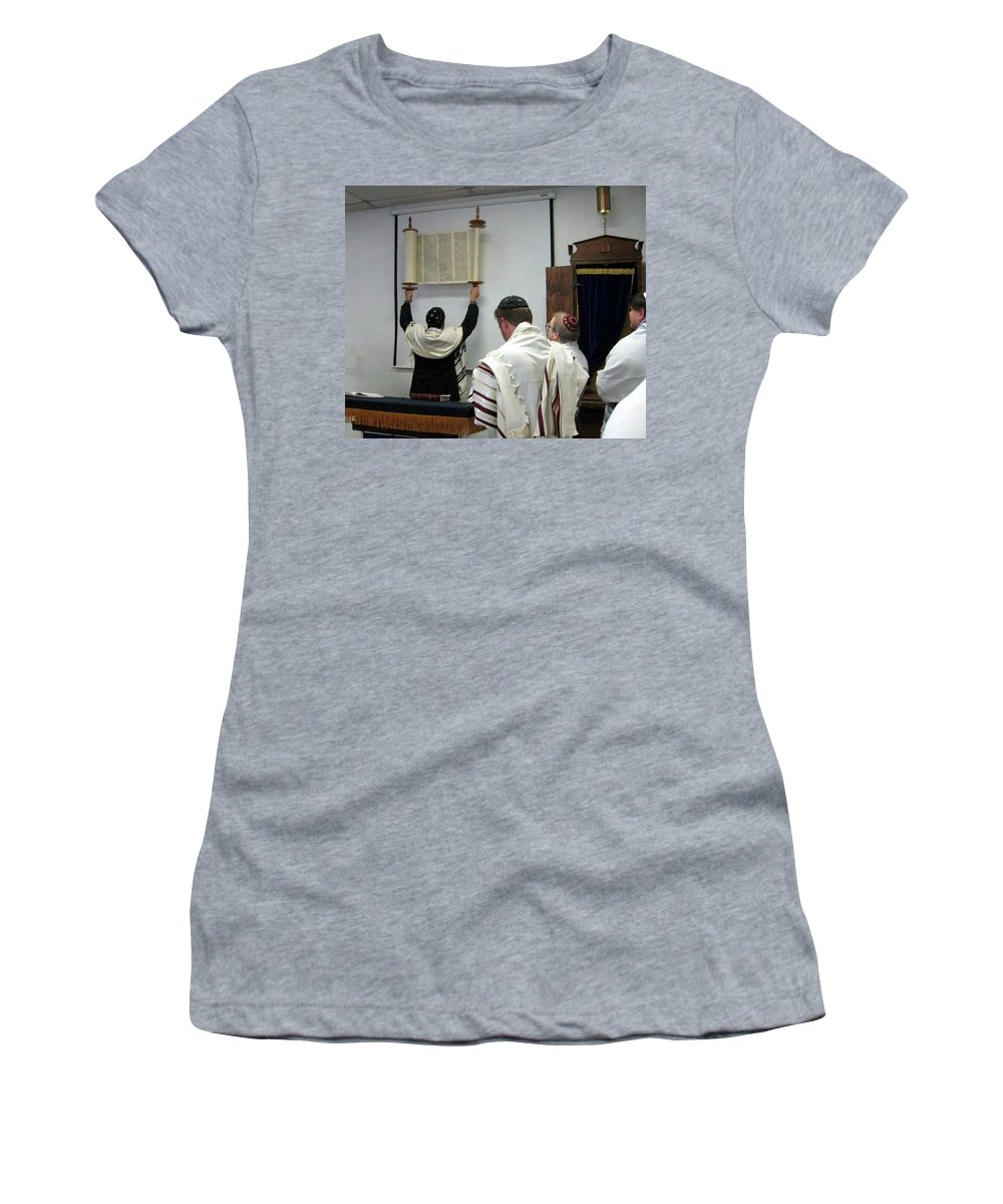 Women's T-Shirt (Athletic Fit) featuring the photograph Lift Up The Torah by Amy Hosp