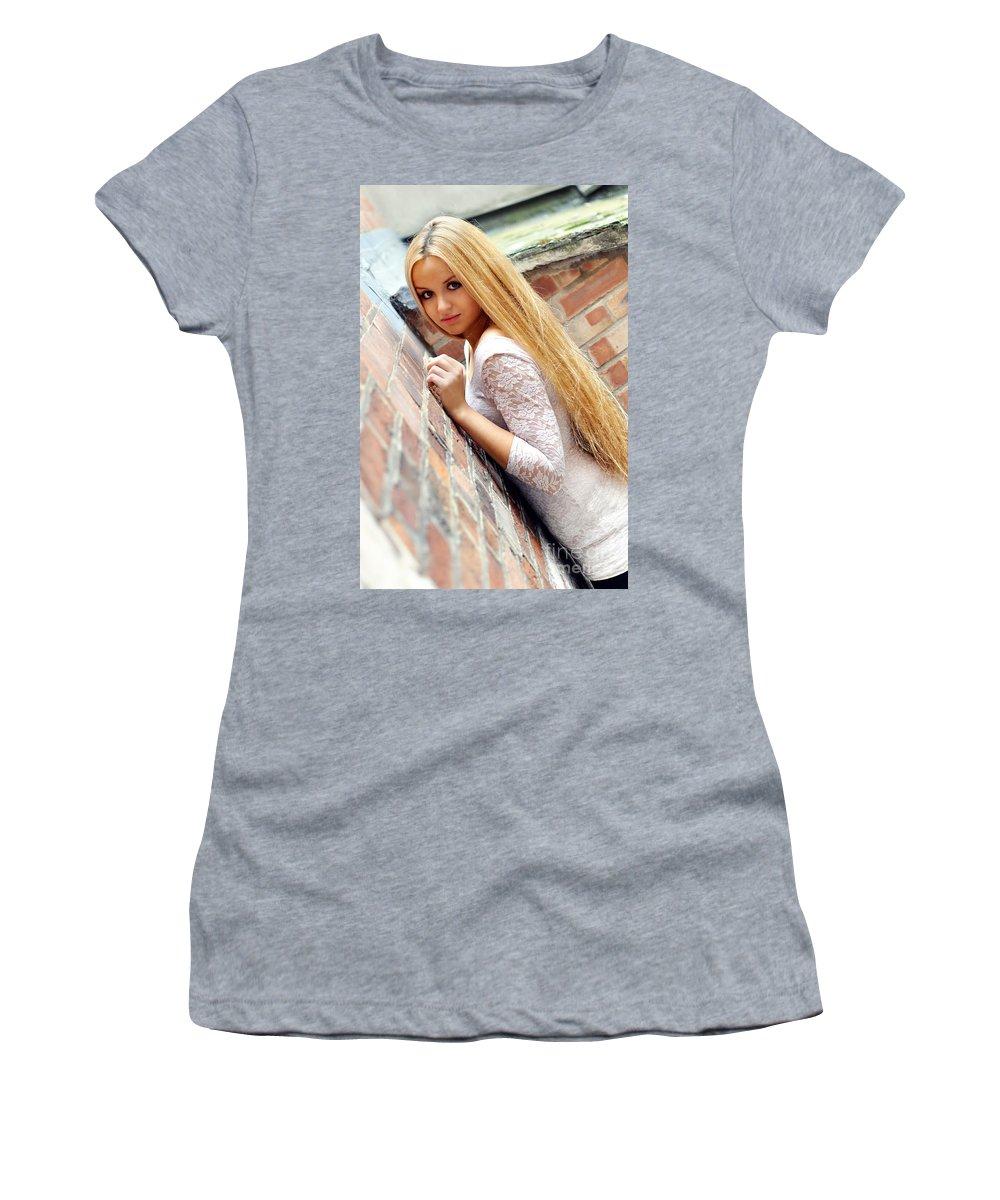 Yhun Suarez Women's T-Shirt (Athletic Fit) featuring the photograph Liuda3 by Yhun Suarez