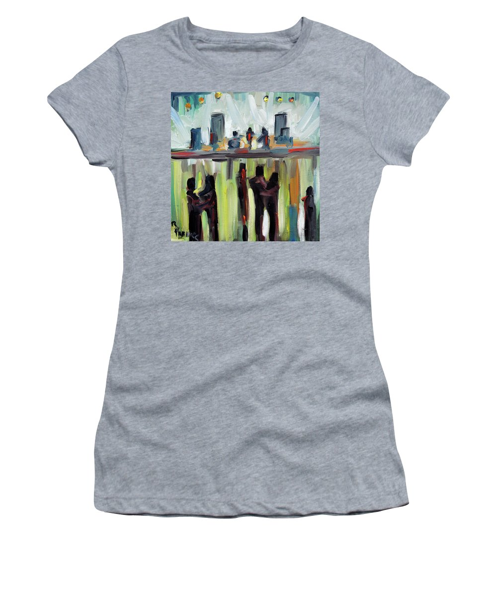 Art Women's T-Shirt (Athletic Fit) featuring the painting Live Show By Prankearts by Richard T Pranke