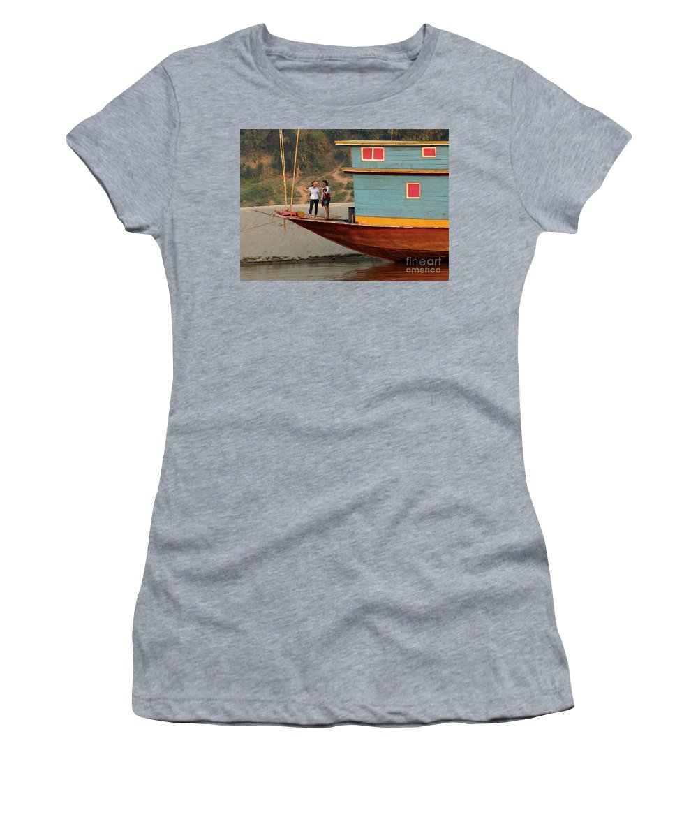 Laos Women's T-Shirt (Athletic Fit) featuring the photograph Living On The Mekong by Bob Christopher