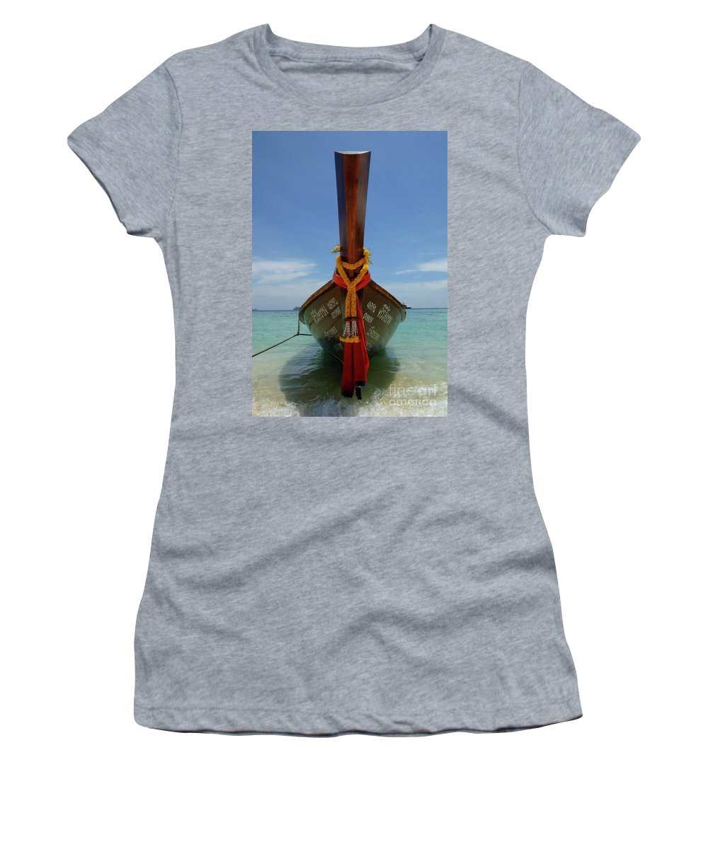 Phuket Women's T-Shirt (Athletic Fit) featuring the photograph Long Tail Boat Thailand by Bob Christopher