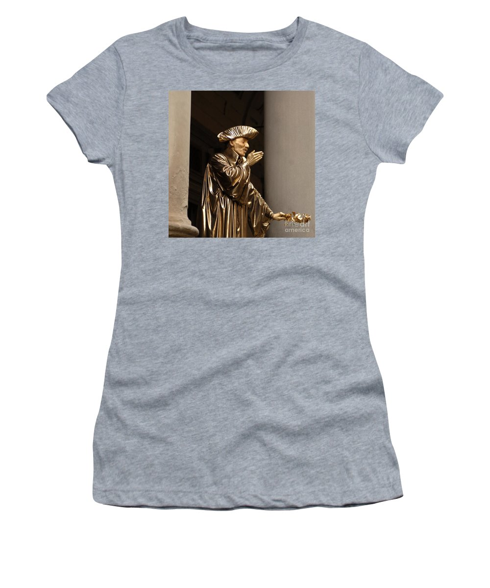 Italy. Rome Women's T-Shirt (Athletic Fit) featuring the photograph Mime Florence Italy by Bob Christopher