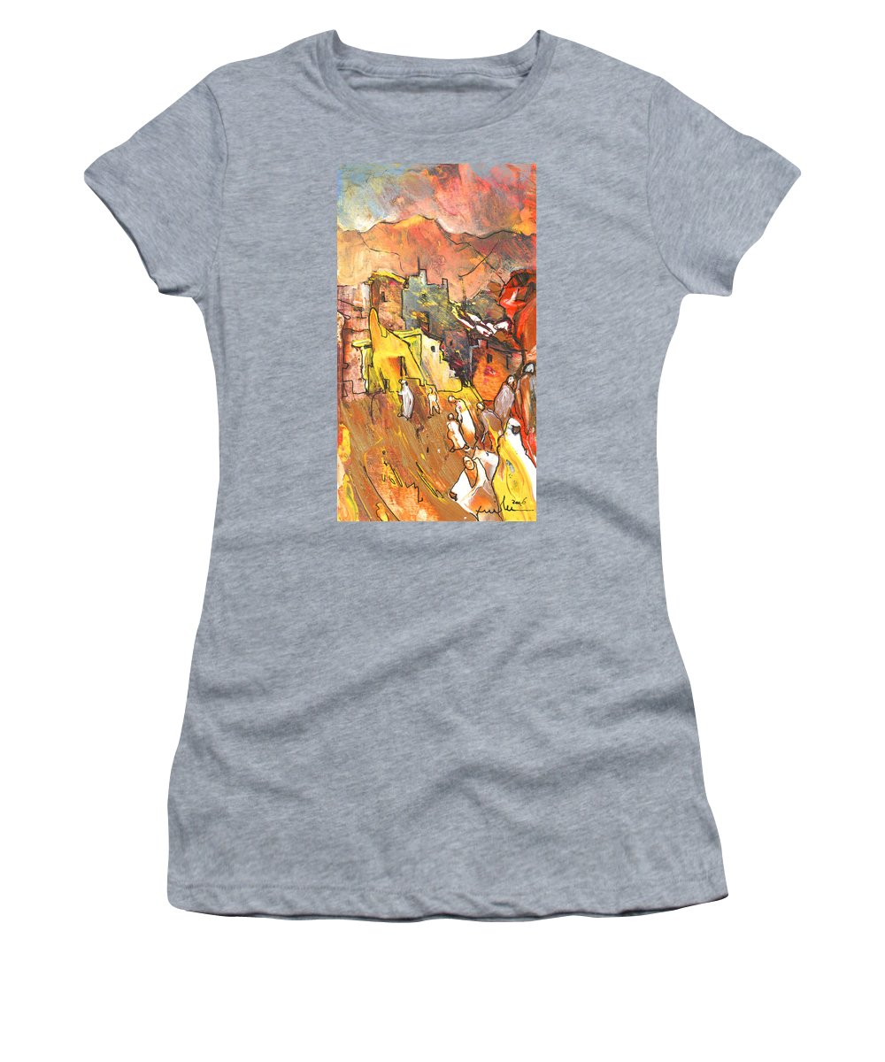 Travel Women's T-Shirt (Athletic Fit) featuring the painting Morocco Impression 01 by Miki De Goodaboom