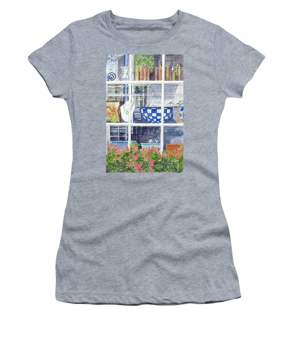 Nantucket Shop-lecherche Midi Women's T-Shirt featuring the painting Nantucket Shop-lecherche Midi by Carol Flagg