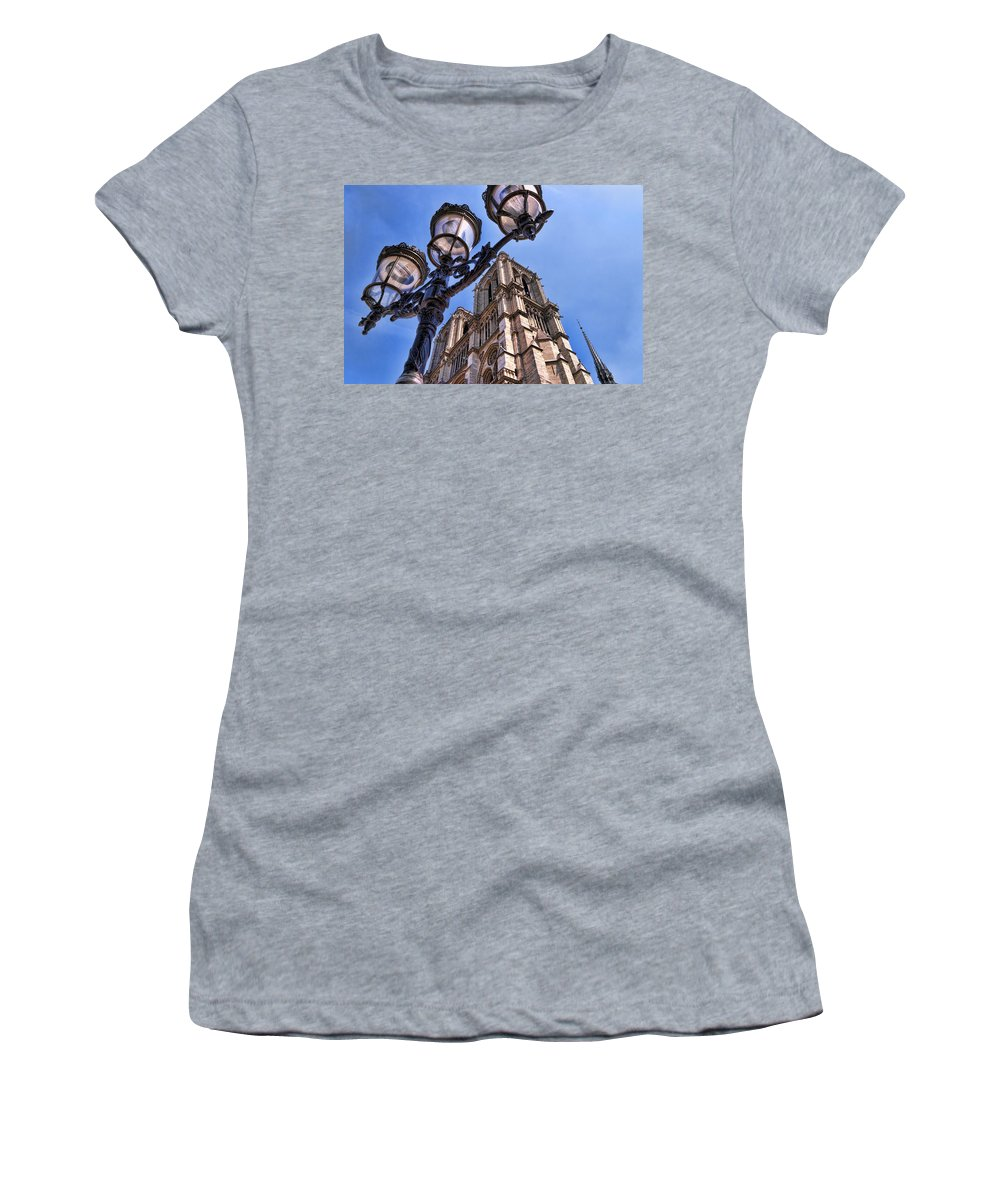 Notre Dame Cathedral Women's T-Shirt (Athletic Fit) featuring the photograph Notre Dame Tower by Jon Berghoff