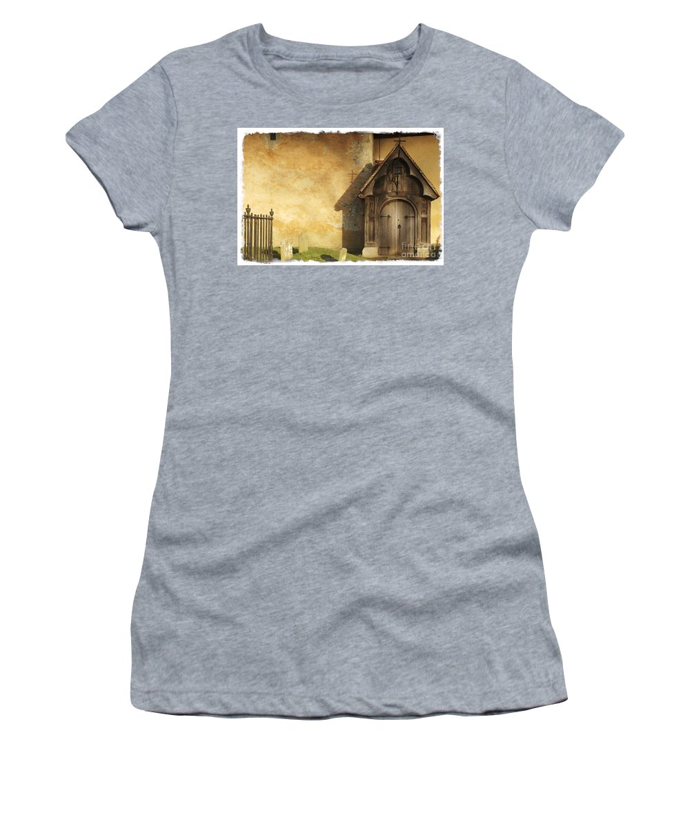 Chursh Women's T-Shirt (Athletic Fit) featuring the photograph Old Church Door by Martin Williams