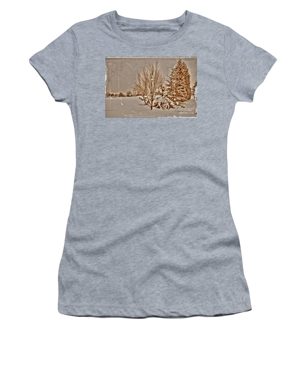 Alone Women's T-Shirt (Athletic Fit) featuring the photograph Old Country Christmas by Dan Stone