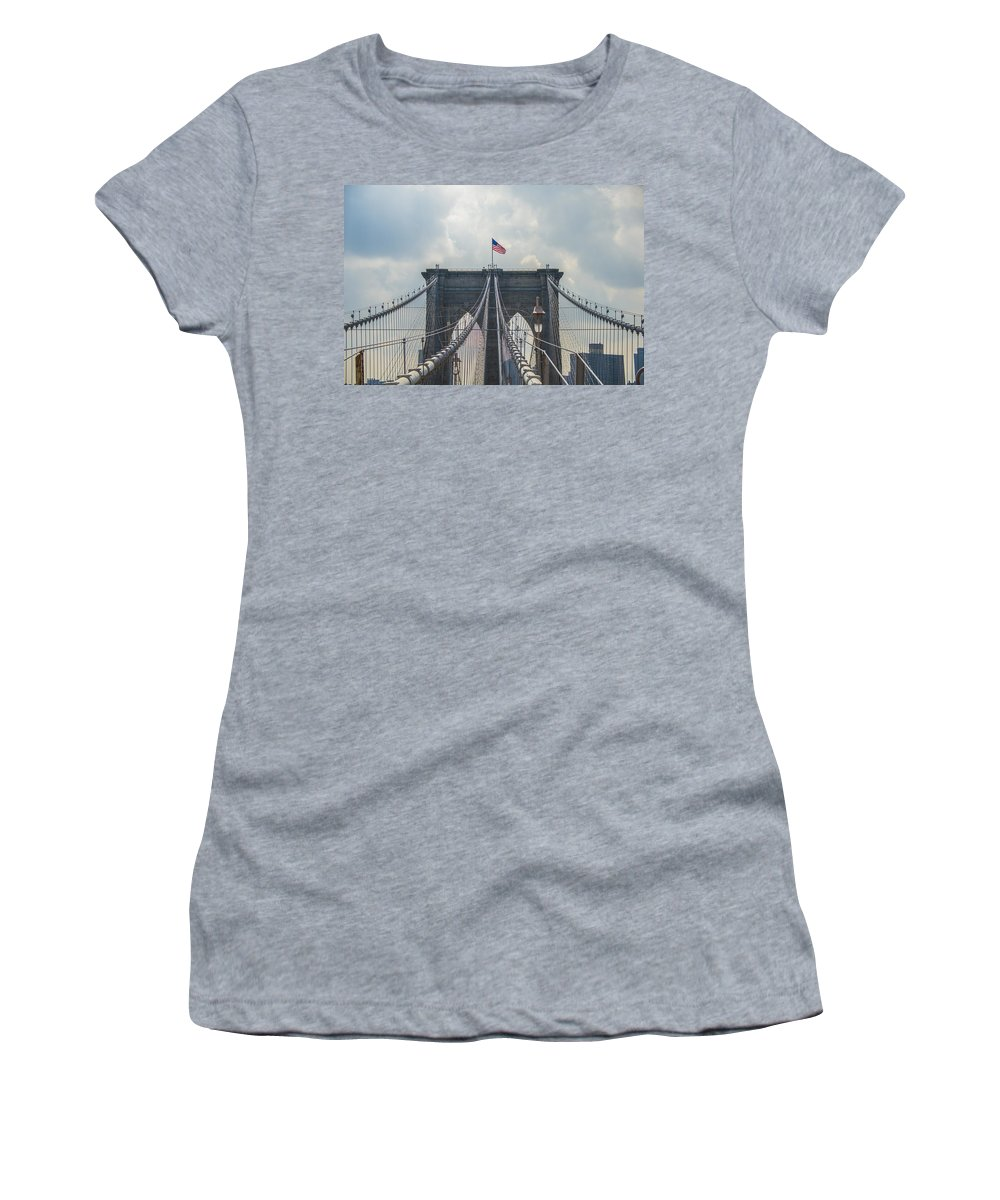 American Flag Women's T-Shirt featuring the photograph Ole Glory Over Brooklyn Bridge by Theodore Jones