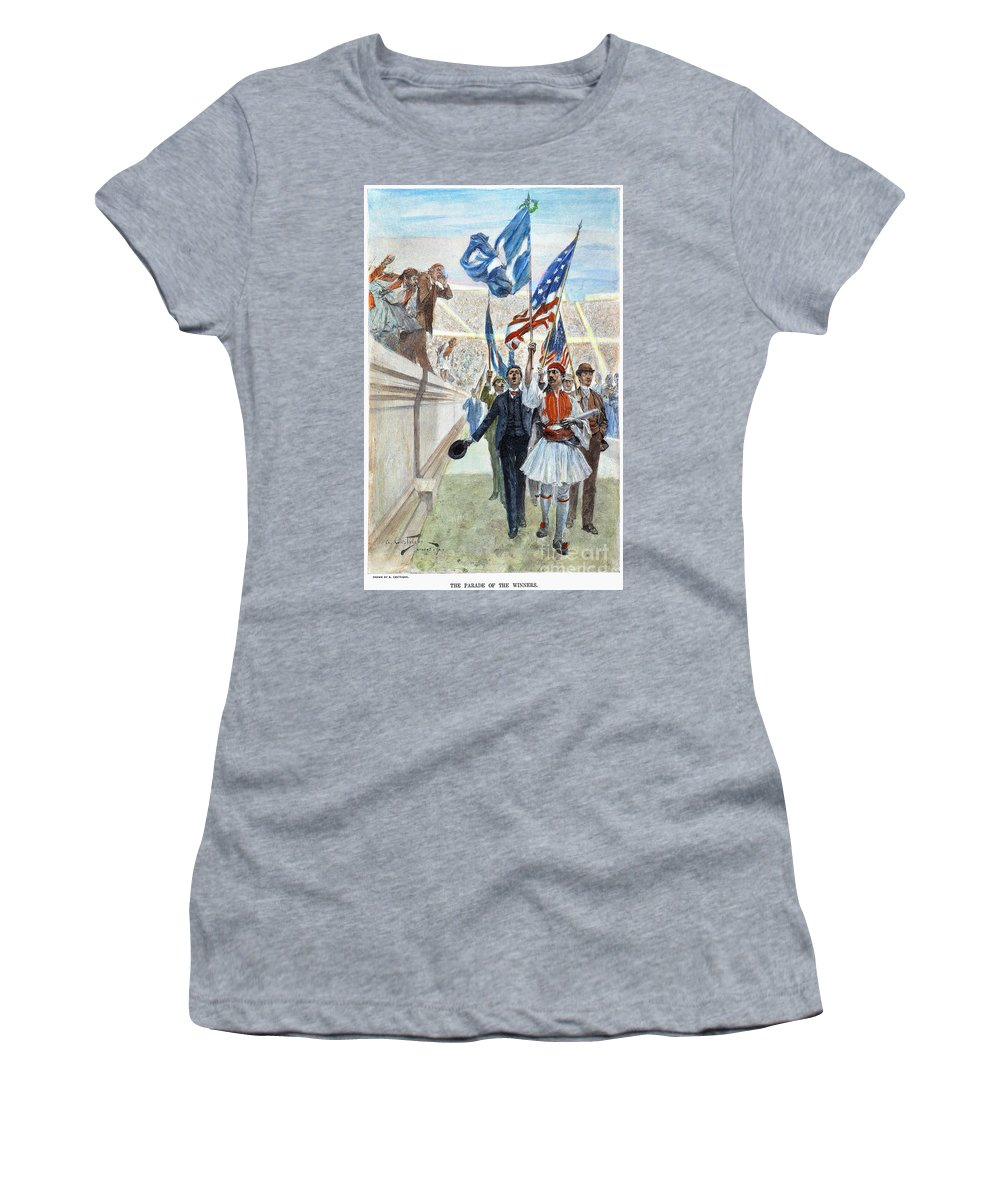 1896 Women's T-Shirt featuring the photograph Olympic Games, 1896 by Granger