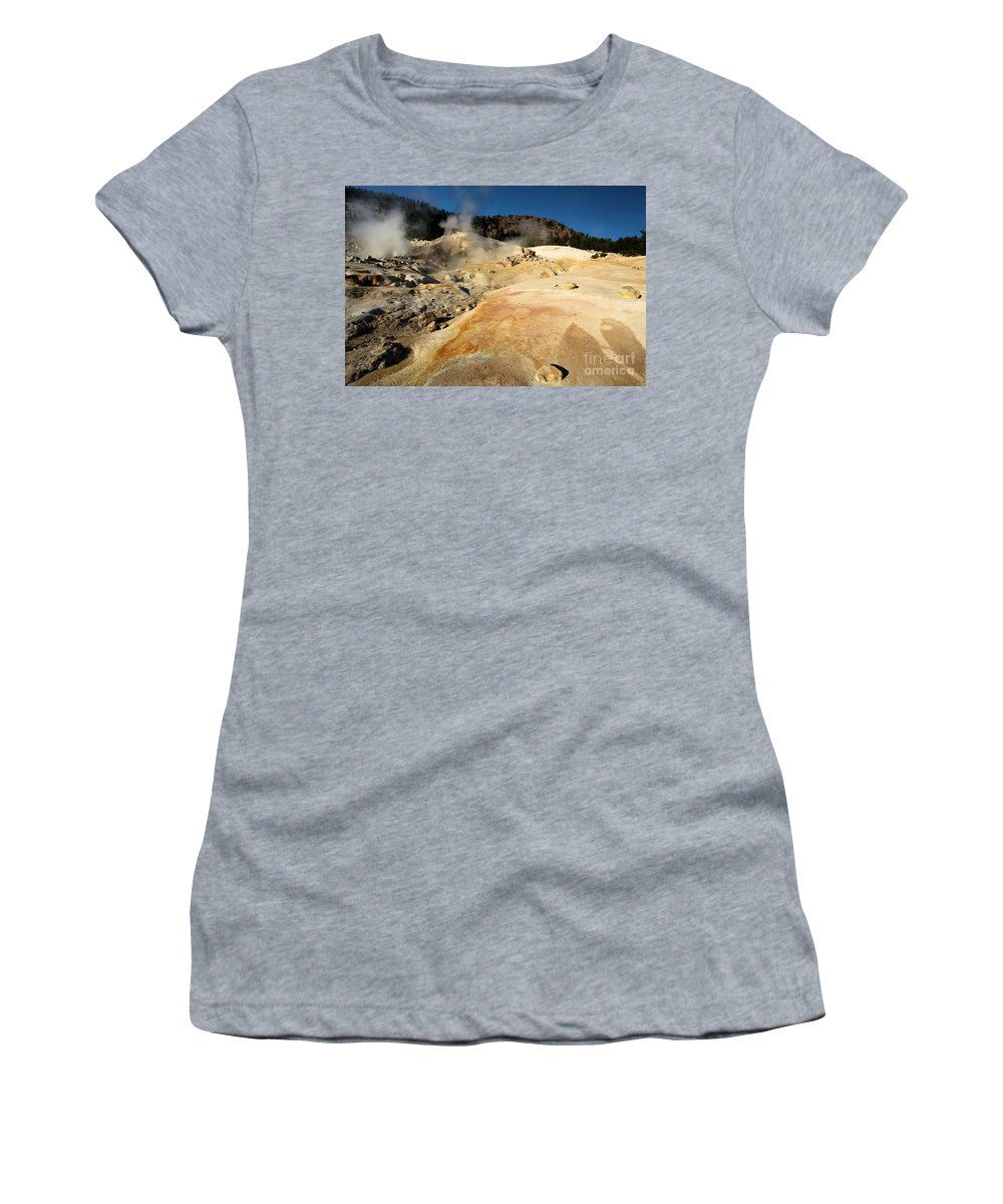 Lassen Volcanic National Park Women's T-Shirt (Athletic Fit) featuring the photograph Orange Thermal Crust by Adam Jewell
