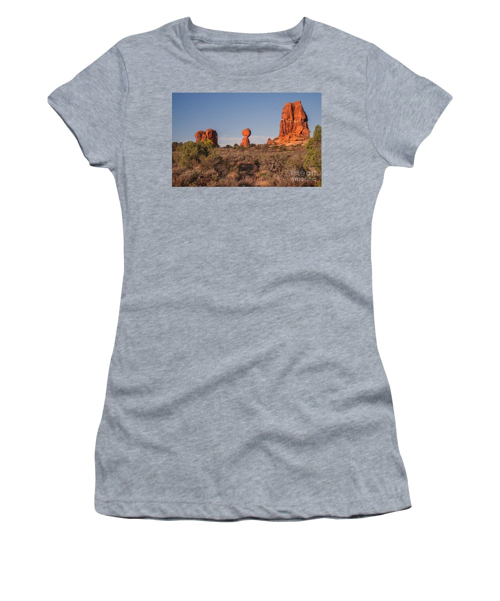 Balance Rockarches National Park Women's T-Shirt featuring the photograph Panoramic View Of Balance Rock                            by Robert Bales