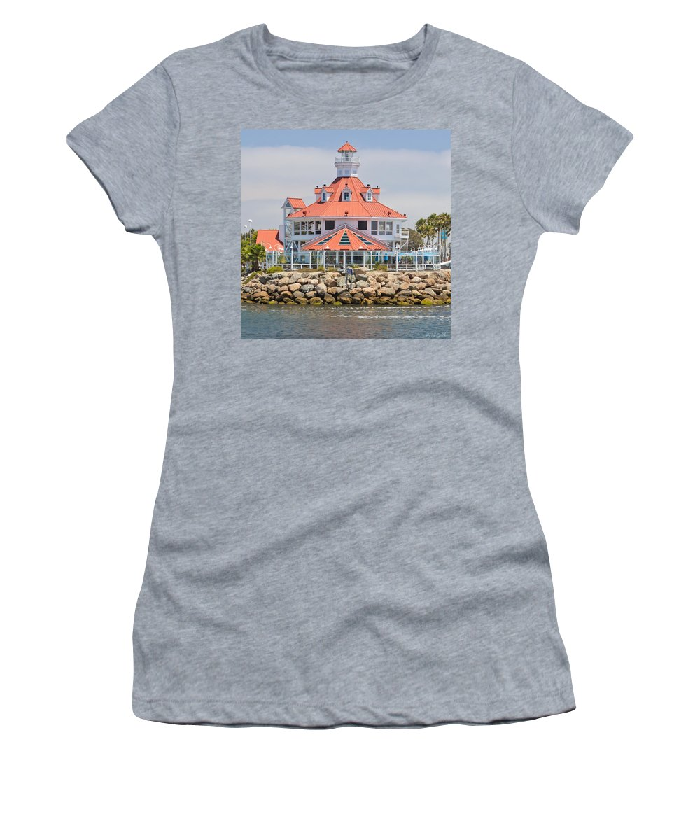 Parkers Women's T-Shirt (Athletic Fit) featuring the photograph Parker's Lighthouse Shoreline Village by Heidi Smith