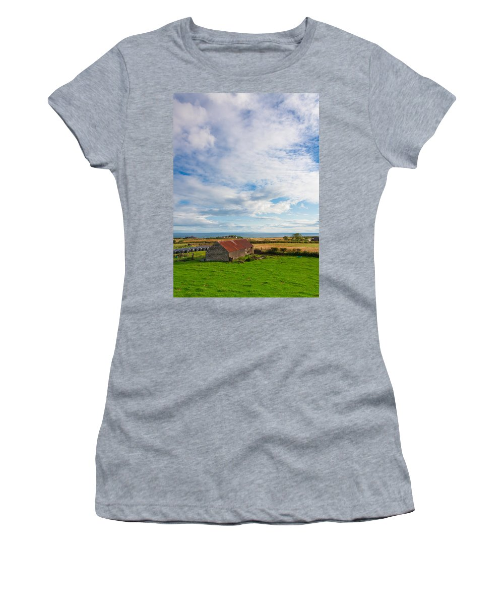 Clouds Women's T-Shirt (Athletic Fit) featuring the photograph Picturesque Barn by Semmick Photo