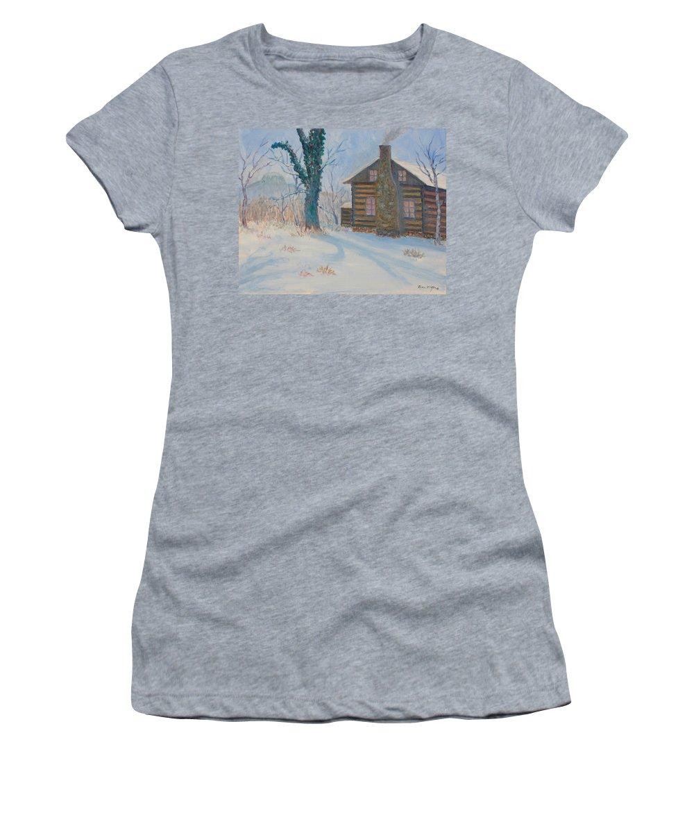 Pilot Mountain Women's T-Shirt featuring the painting Pilot Mountain Lodge by Ben Kiger